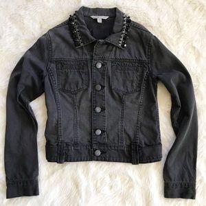 Cabi • faded embellished denim jean jacket